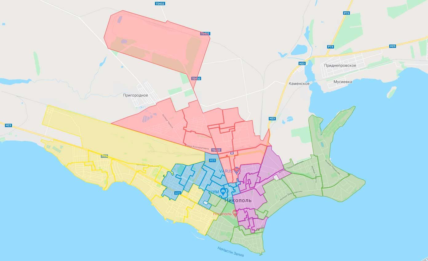 Карта територіальніх виборчих округів м. Нікополя   Прихист